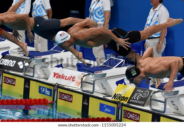 Budapest, Hungary - Jul 28, 2017. Competitive swimmer ADRIAN Nathan (USA) swimming 50m Freestyle. FINA Swimming World Championship Preliminary Heats in Duna Arena.