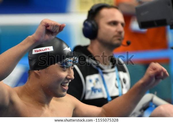 Budapest, Hungary - Jul 28, 2017. Competitive swimmer SHIOURA Shinri (JPN) after swimming 50m Freestyle. FINA Swimming World Championship Preliminary Heats in Duna Arena.