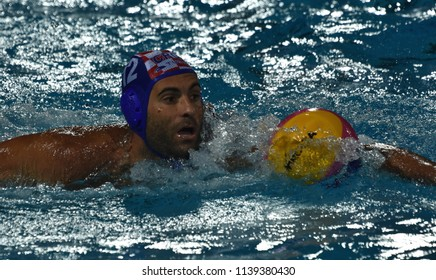 Budapest, Hungary - Jul 29, 2017.  GARCIA GADEA Javier (CRO) playing against Hungary in the Final. FINA Waterpolo World Championship was held in Alfred Hajos Swimming Centre in 2017.