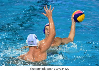 Budapest, Hungary - Jul 29, 2017.  JOKOVIC Maro (CRO) playing against Hungary in the Final. FINA Waterpolo World Championship was held in Alfred Hajos Swimming Centre in 2017.