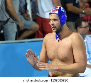 Budapest, Hungary - Jul 29, 2017.  LONCAR Luka (CRO) playing against Hungary in the Final. FINA Waterpolo World Championship was held in Alfred Hajos Swimming Centre in 2017.