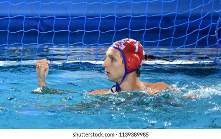 Budapest, Hungary - Jul 29, 2017.  BIJAC Marko (CRO) goalkeeper playing against Hungary in the Final. FINA Waterpolo World Championship was held in Alfred Hajos Swimming Centre in 2017.
