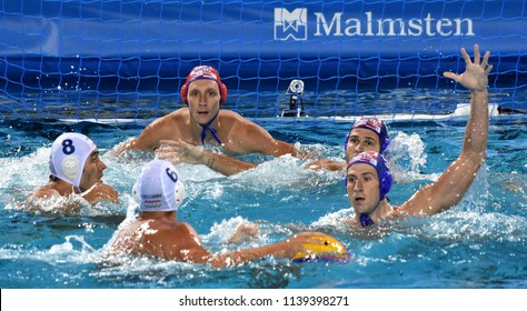 Budapest, Hungary - Jul 29, 2017.  Croatia (BIJAC Marko 1, JOKOVIC Maro 5, BULJUBASIC Ivan 6) play against Hungary (HOSNYANSZKY Norbert 6, GOR-NAGY Miklos 8). FINA Waterpolo World Championship, Final.