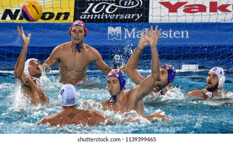 Budapest, Hungary - Jul 29, 2017.  Croatia (BIJAC Marko 1, JOKOVIC Maro 5, BULJUBASIC Ivan 6) play against Hungary (HOSNYANSZKY 6, GOR-NAGY  8, MEZEI 11). FINA Waterpolo World Championship, Final.