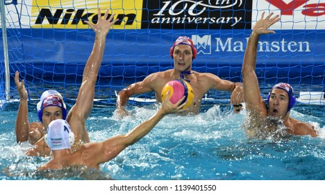 Budapest, Hungary - Jul 29, 2017.  Croatia (BIJAC Marko 1, JOKOVIC Maro 5, KRAPIC Ivan 10) play against Hungary (VARGA Denes 10). FINA Waterpolo World Championship, Final.