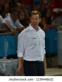 Budapest, Hungary - Jul 29, 2017. MARCZ Tamas, head coach of Hungary Men Waterpolo team in the Final. FINA Waterpolo World Championship was held in Alfred Hajos Swimming Centre in 2017.