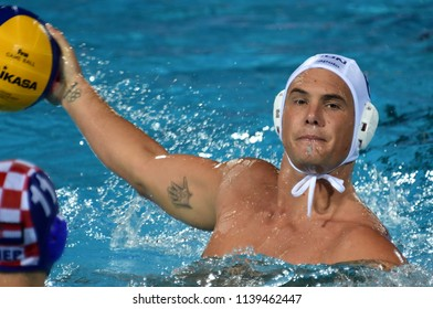 Budapest, Hungary - Jul 29, 2017.  HOSNYANSZKY Norbert (HUN) playing against Croatia in the Final. FINA Waterpolo World Championship was held in Alfred Hajos Swimming Centre in 2017.