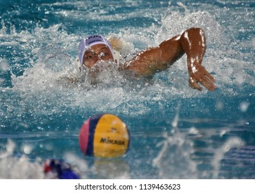 Budapest, Hungary - Jul 29, 2017. ZALANKI Gergo (4) hungarian waterpolo player swimming to the ball in the Final. FINA Waterpolo World Championship was held in Alfred Hajos Swimming Centre in 2017.