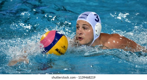 Budapest, Hungary - Jul 29, 2017. MANHERCZ Krisztian (3) hungarian waterpolo player in the Final. FINA Waterpolo World Championship was held in Alfred Hajos Swimming Centre in 2017.