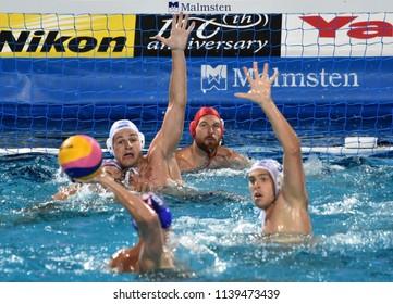 Budapest, Hungary - Jul 29, 2017. Hungary (NAGY Viktor 1, MANHERCZ Krisztian 3, ERDELYI Balazs 9) defend against Croatia (SUKNO Sandro 9) in the Final. FINA Waterpolo World Championship.