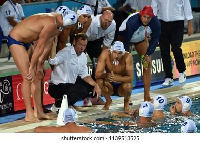 Budapest, Hungary - Jul 29, 2017. MARCZ Tamas head coach and the hungarian men waterpolo team in the break. FINA Waterpolo World Championship, Final, HUN-CRO.