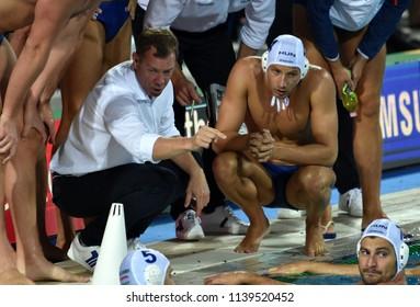 Budapest, Hungary - Jul 29, 2017. MARCZ Tamas head coach and the hungarian men waterpolo team (ZALANKI Gergo 4, DECKER Adam 7) in the break. FINA Waterpolo World Championship, Final, HUN-CRO.