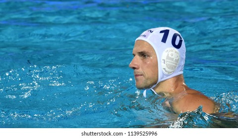 Budapest, Hungary - Jul 29, 2017.  VARGA Denes (10) hungarian waterpolo player in the Final. FINA Waterpolo World Championship was held in Alfred Hajos Swimming Centre in 2017.