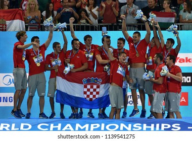 Budapest, Hungary - Jul 29, 2017. Croatia is the winner of FINA Waterpolo World Championship. It was held in Alfred Hajos Swimming Centre.