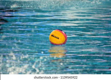 Budapest, Hungary - Jul 29, 2017. Waterpolo ball in the swimming pool. FINA Waterpolo World Championship was held in Alfred Hajos Swimming Centre in 2017.