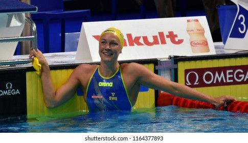 Budapest, Hungary - Jul 29, 2017. Competitive swimmer SJOSTROM Sarah (SWE) in the 50m Butterfly Final. FINA Swimming World Championship was held in Duna Arena.