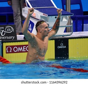 Budapest, Hungary - Jul 29, 2017. Competitive swimmer DRESSEL Caeleb Remel (USA) in the 50m Freestyle Final. FINA Swimming World Championship was held in Duna Arena.