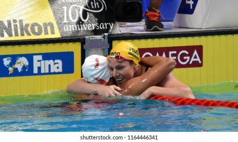 Budapest, Hungary - Jul 29, 2017. Competitive swimmer SEEBOHM Emily (AUS) and MASSE Kylie Jacqueline (CAN) after the 200m Backstroke Final. FINA Swimming World Championship was held in Duna Arena.