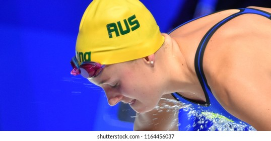 Budapest, Hungary - Jul 29, 2017. Competitive swimmer HANSEN Jessica Leigh (AUS) in the 50m Breaststroke SemiFinal. FINA Swimming World Championship was held in Duna Arena.