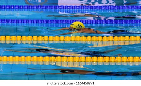 Budapest, Hungary - Jul 29, 2017. Competitive swimmer JOHANSSON Jennie (SWE) in the 50m Breaststroke SemiFinal. FINA Swimming World Championship was held in Duna Arena.