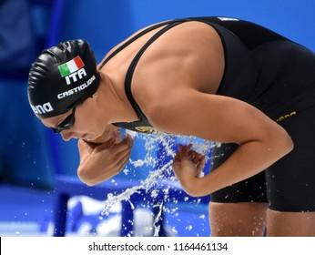 Budapest, Hungary - Jul 29, 2017. Competitive swimmer CASTIGLIONI Arianna (ITA) in the 50m Breaststroke SemiFinal. FINA Swimming World Championship was held in Duna Arena.