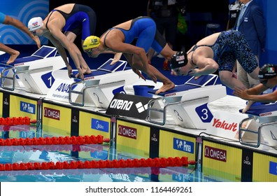 Budapest, Hungary - Jul 29, 2017. Competitive swimmer JOHANSSON Jennie (SWE), KING Lilly (USA) and IVANEEVA Natalia (RUS) in the 50m Breaststroke SemiFinal. FINA Swimming World Championship.