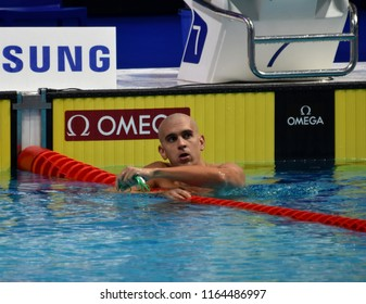 Budapest, Hungary - Jul 29, 2017. Competitive swimmer CSEH Laszlo (HUN) in the 100m Butterfly Final. FINA Swimming World Championship was held in Duna Arena.