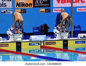 Budapest, Hungary - Jul 29, 2017. Competitive swimmer CSEH Laszlo (HUN) and SCHOOLING Joseph (SGP) in the 100m Butterfly Final. FINA Swimming World Championship was held in Duna Arena.