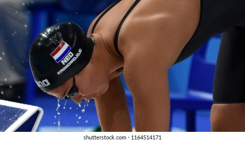 Budapest, Hungary - Jul 29, 2017. Competitive swimmer KROMOWIDJOJO Ranomi (NED) in the 50m Freestyle SemiFinal. FINA Swimming World Championship was held in Duna Arena.