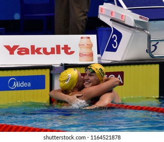 Budapest, Hungary - Jul 29, 2017. SJOSTROM Sarah (SWE) and CAMPBELL Bronte (AUS) in the 50m Freestyle SemiFinal. FINA Swimming World Championship was held in Duna Arena.