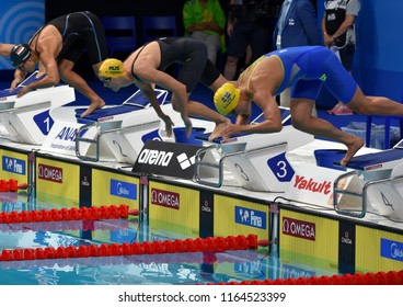Budapest, Hungary - Jul 29, 2017. SJOSTROM Sarah (SWE), CAMPBELL Bronte (AUS) and OSMAN Farida (EGY) in the 50m Freestyle SemiFinal. FINA Swimming World Championship was held in Duna Arena.