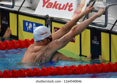 Budapest, Hungary - Jul 29, 2017. Competitive swimmer LACOURT Camille (FRA) in the 50m Backstroke SemiFinal. FINA Swimming World Championship was held in Duna Arena.