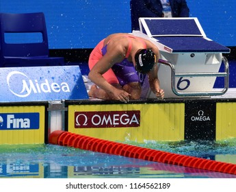 Budapest, Hungary - Jul 29, 2017. Competitive swimmer BELMONTE Mireia (ESP) in the 800m Freestyle Final. FINA Swimming World Championship was held in Duna Arena.