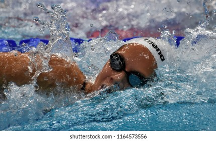Budapest, Hungary - Jul 29, 2017. Competitive swimmer KAPAS Boglarka (HUN) in the 800m Freestyle Final. FINA Swimming World Championship was held in Duna Arena.