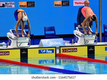 Budapest, Hungary - Jul 29, 2017. Competitive swimmer KAPAS Boglarka (HUN) and BELMONTE Mireia (ESP) in the 800m Freestyle Final. FINA Swimming World Championship was held in Duna Arena.