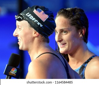 Budapest, Hungary - Jul 29, 2017. Competitive swimmer LEDECKY Katie (USA) and SMITH Leah (USA) after the 800m Freestyle Final. FINA Swimming World Championship was held in Duna Arena.