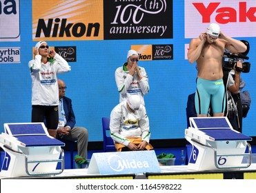 Budapest, Hungary - Jul 29, 2017. Team Hungary (KOZMA Dominik, BOHUS Richard, JAKABOS Zsuzsanna, VERRASZTO Evelin) in the Mixed 4x100m Freestyle Final. FINA Swimming World Championship in Duna Arena.