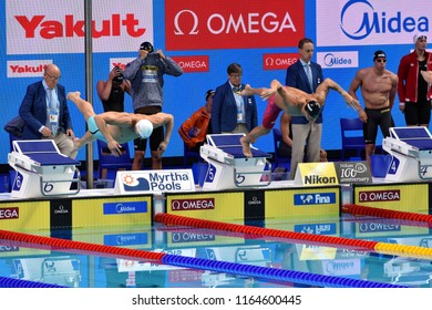 Budapest, Hungary - Jul 29, 2017. KOZMA Dominik (HUN) and DRESSEL Caeleb Remel (USA) in the Mixed 4x100m Freestyle Final. FINA Swimming World Championship in Duna Arena.