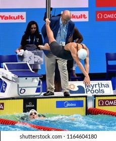 Budapest, Hungary - Jul 29, 2017. JAKABOS Zsuzsanna (HUN) swimming in the Mixed 4x100m Freestyle Final. FINA Swimming World Championship in Duna Arena.