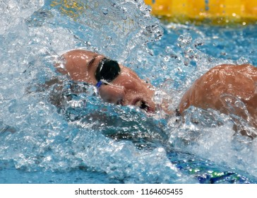 Budapest, Hungary - Jul 29, 2017. VERRASZTO Evelin (HUN) swimming in the Mixed 4x100m Freestyle Final. FINA Swimming World Championship in Duna Arena.