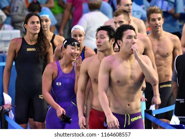 Budapest, Hungary - Jul 29, 2017. Team Hungary and Team Japan in the Mixed 4x100m Freestyle Final. FINA Swimming World Championship in Duna Arena.