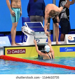 Budapest, Hungary - Jul 29, 2017. Team Hungary (BOHUS Richard, VERRASZTO Evelin) in the Mixed 4x100m Freestyle Final. FINA Swimming World Championship in Duna Arena.