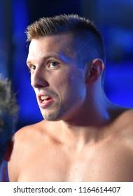 Budapest, Hungary - Jul 29, 2017. KOZMA Dominik (HUN) in the Mixed 4x100m Freestyle Final. FINA Swimming World Championship in Duna Arena.
