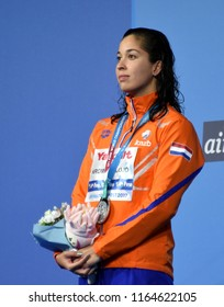 Budapest, Hungary - Jul 29, 2017. Silver medalist KROMOWIDJOJO Ranomi (NED) at the Victory Ceremony of the Women 50m Butterfly. FINA Swimming World Championship.