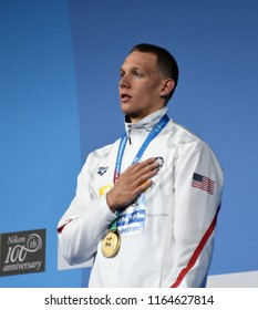 Budapest, Hungary - Jul 29, 2017. The winner DRESSEL Caeleb Remel (USA) at the Victory Ceremony of the Men 50m Freestyle. FINA Swimming World Championship.