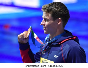 Budapest, Hungary - Jul 29, 2017. Bronze medalist PROUD Benjamin (GBR) at the Victory Ceremony of the Men 50m Freestyle. FINA Swimming World Championship.