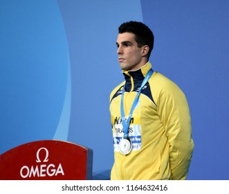 Budapest, Hungary - Jul 29, 2017. Silver medalist FRATUS Bruno (BRA) at the Victory Ceremony of the Men 50m Freestyle. FINA Swimming World Championship.