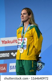 Budapest, Hungary - Jul 29, 2017. The winner SEEBOHM Emily (AUS) at the Victory Ceremony of the Women 200m Backstroke. FINA Swimming World Championship.