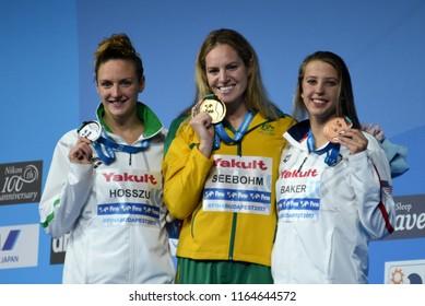 Budapest, Hungary - Jul 29, 2017. HOSSZU Katinka (HUN), BAKER Kathleen (USA) and the winner SEEBOHM Emily (AUS) at the Victory Ceremony of the Women 200m Backstroke. FINA Swimming World Championship.