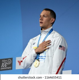Budapest, Hungary - Jul 29, 2017. The winner DRESSEL Caeleb Remel (USA) at the Victory Ceremony of the Men 100m Butterfly. FINA Swimming World Championship.